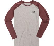 T-Shirt Longsleeve Baumwolle hellgrau-beere