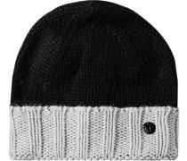 Herren   Mütze Woll-Mix schwarz-hellgrau