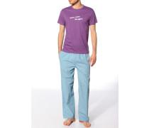 Herren Pyjama Jersey-Shirt+Web-Pant Baumwolle lila-türkis multicolor