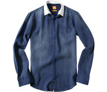 Herren Hemd Slim Fit Strukturgewebe jeansblau meliert