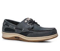 Bootsschuhe Leder graublau-navy