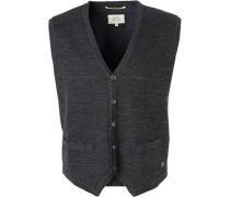 Pullover Strickweste Baumwolle anthrazit- meliert