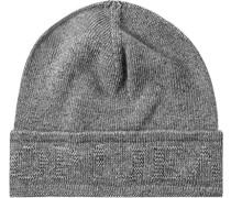 Mütze, Wolle-Kaschmir, hellgrau meliert