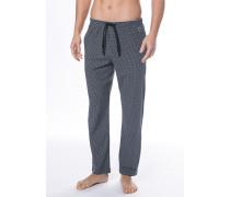 Schlafanzug Pyjama-Pants Baumwolle-Modal dunkelblau gemustert