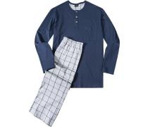 Schlafanzug Pyjama Baumwolle navy-grau kariert
