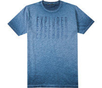 Herren T-Shirt Baumwolle blau meliert
