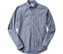 Hemd Regular Fit Baumwolle dunkelblau-weiß meliert