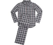Schlafanzug Pyjama, Baumwolle, -marsala kariert