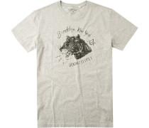 T-Shirt, Baumwolle, hellgau meliert