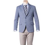 Herren Jersey-Sakko Modern Fit Baumwoll-Mix halbgefüttert blau-weiß meliert