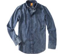 Hemd Slim Fit Popeline jeansblau