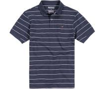 Polo-Shirt Polo Baumwoll-Piqué dunkelblau-weiß gestreift