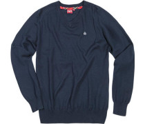 Herren V-Pullover Wolle navy blau