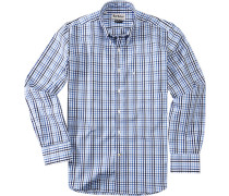 Herren Hemd Regular Fit Baumwolle blau kariert