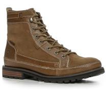 Schuhe Schnürstiefeletten Velours-Glattleder