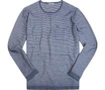 Pullover Baumwolle rauchblau-off white gestreift