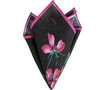 Accessoires Einstecktuch Leinen schwarz-magenta