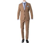 Herren Anzug Slim Fit Baumwolle sandbeige