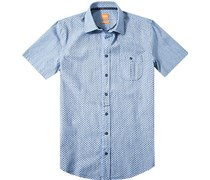 Herren Hemd Slim Fit Strukturgewebe jeansblau gemustert