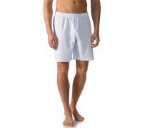 Herren Schlafanzug Pyjamashorts Baumwolle hellblau-weiß gestreift