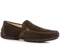Schuhe Mokassin, Veloursleder, kaffeebraun