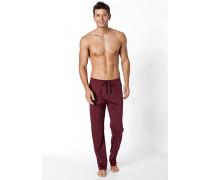 Herren Schlafanzug Pyjamahose Baumwolle bordeaux rot