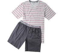 Schlafanzug Pyjama Baumwolle hellgrau-rot gestreift