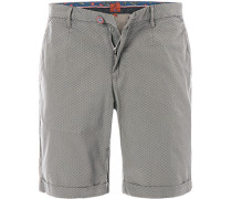 Hose Bermudashorts Regular Fit Baumwolle khaki gemustert