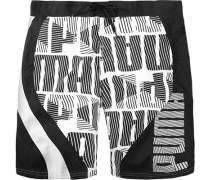 Herren Bademode Long Boardshort Polyester schwarz-weiß
