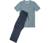 Schlafanzug Pyjama, Baumwolle, navy- gestreift