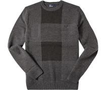 Herren Pullover Wolle-Baumwolle anthrazit-schwarz gemustert grau
