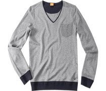 Pullover Aniva Baumwoll-Mix hellgrau ,blau