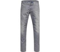 Jeans Slim Fit Baumwoll-Stretch hellgrau