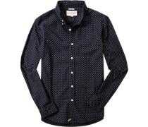 Herren Hemd Regular Fit Baumwolle navy-beige gemustert blau