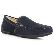 Herren Schuhe Mokassins Veloursleder marineblau blau,beige