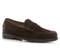 Schuhe Slipper Veloursleder dunkelbraun