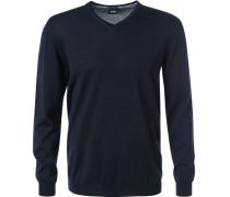 Pullover Merinowolle extrafein nachtblau