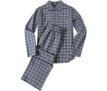 Schlafanzug Pyjama Baumwolle capriblau-gelb kariert