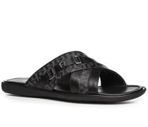 Herren Schuhe Sandalen Leder schwarz gemustert schwarz,schwarz
