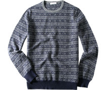 Pullover Wolle marine-grau gemustert