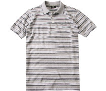 Polo-Shirt Polo Baumwolle-Piqué -weiß gestreift