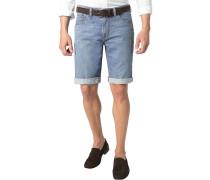 Herren Jeansshorts Modern Fit Baumwoll-Stretch hellblau