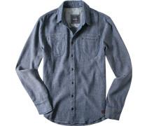 Herren Hemd Slim Fit Strukturgewebe indigo-weiß meliert blau