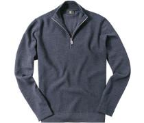 Pullover Troyer Schurwolle dunkelblau meliert