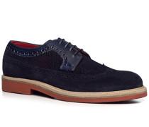 Herren Schuhe Budapester Veloursleder-Mix azzurro blau,rot