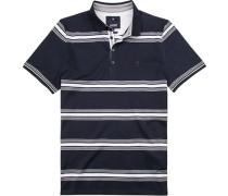 Polo-Shirt Polo Baumwolle mercerisierte navy gestreift