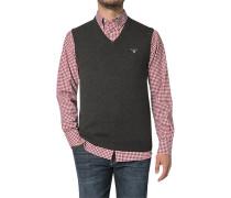 Pullover Pullunder Wolle-Baumwolle dunkelgrau meliert