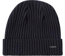 Mütze Wolle nachtblau meliert
