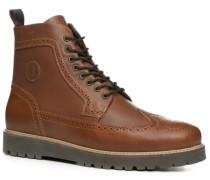 Herren Schuhe Stiefeletten Leder cognac braun,grau