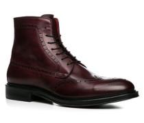 Herren Schuhe Schnürstiefeletten Leder bordó rot,rot